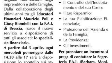 Lo specialista Finanziario: Sportello Operativo presso sede FAI Brescia