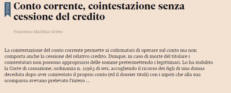 Conto corrente, cointestazione senza cessione del credito