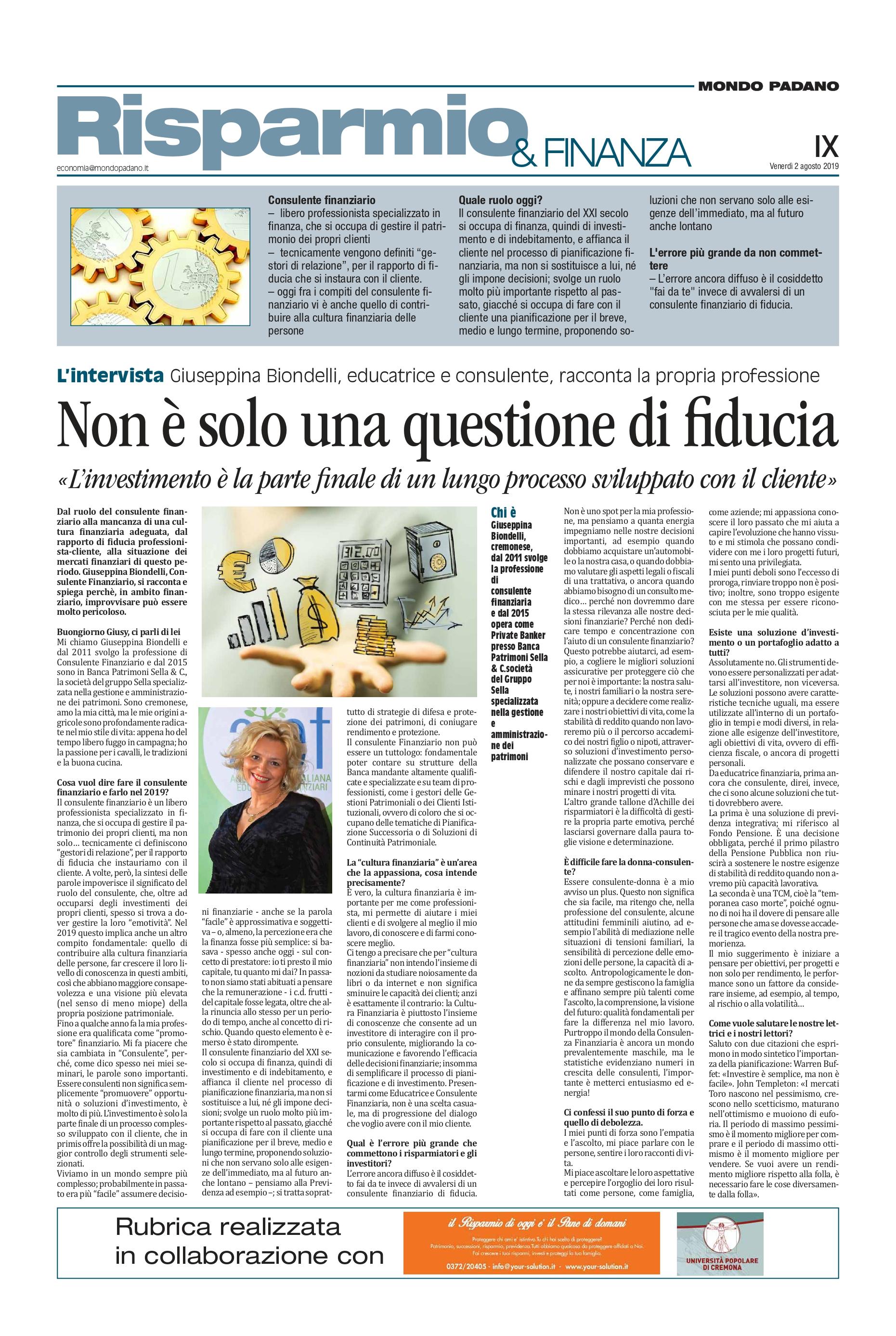 INTERVISTA A GIUSY BIONDELLI EDUCATIRCE E CONSULENTE FINANZIARIA